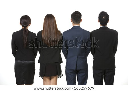 Back view of a Group of Chinese business people. Business team Isolated on white background.