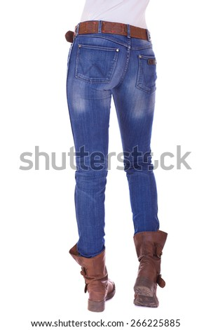 Back view of a long woman legs posing with jeans isolated on a white background - stock photo