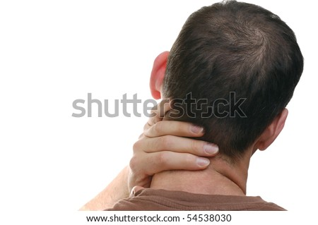 Back View of a Man with Neck Pain - stock photo
