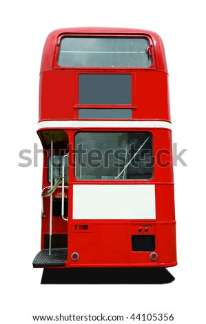 Back view of a red old style London Bus - stock photo