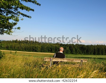 Back view of a retired man sitting on a bench reading - stock photo