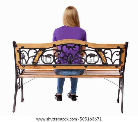 Back View Of A Woman Sitting On Bench Girl Watching Rear People