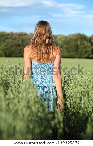 Back view of a woman walking across an oat meadow with the blue sky in the background - stock photo