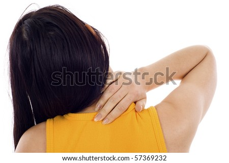 Back View of a Woman with Neck Pain - Isolated over a white background - stock photo