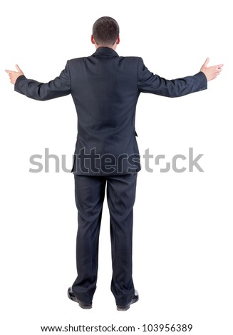 Back view of adult  business man . businessman in black suit. Rear view people collection.  backside view of person.  Isolated over white background. - stock photo