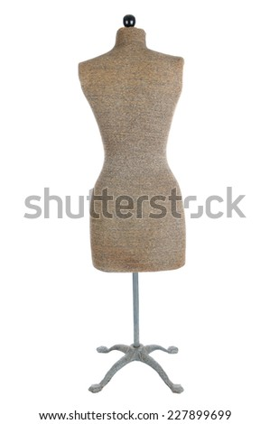 Back view of an antique dress form isolated on white. - stock photo