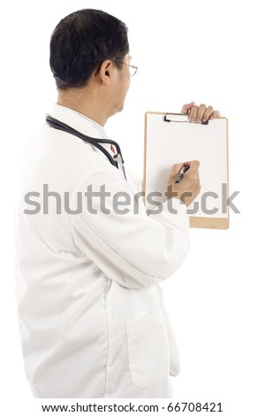 Back view of an Asian doctor writing something on a blank paper of a clipboard - copyspace, write your message - stock photo