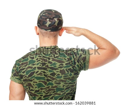 Back view of army soldier saluting isolated on white background - stock photo