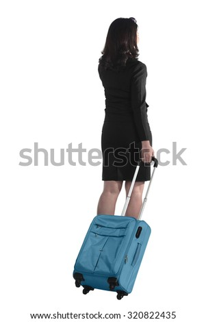 Back view of asian business woman with suitcase isolated over white background