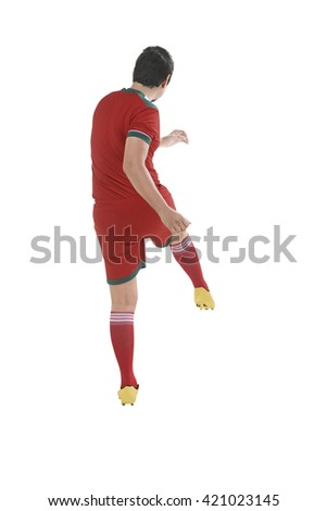 Back view of asian football player kick ball isolated over white background - stock photo