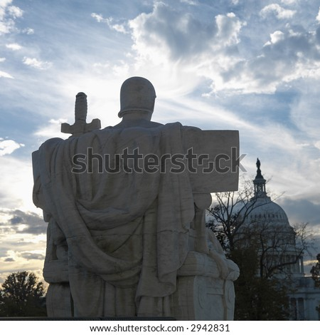 Back view of Authority of Law sculpture in front of Supreme Court building with in Washington D.C. - stock photo