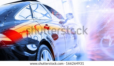 Back view of automobile in sales salon - stock photo