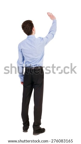 Back view of beautiful business man welcomes.  Young businessman in suit. Rear view  people collection.  backside view of person.  Isolated over white background. Businessman welcomed - stock photo