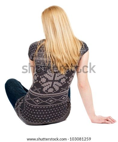 Back view of beautiful young woman sitting on the floor and looks into the distance. Blonde girl relaxes. Rear view people collection.  backside view of person.  Isolated over white background. - stock photo