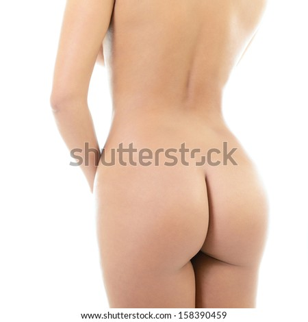 Back view of beautiful young woman with perfect body, isolated on white background  - stock photo