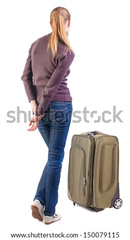 Back view of blonde woman  with  suitcase looking up.   Standing young girl . Rear view people collection.  backside view of person.  Isolated over white background.