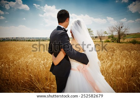Back view of bride and groom in a park - stock photo