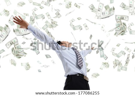 back view of business man hug money isolated on white background, concept for success business, asian model - stock photo