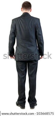 back view of business man in black suit  watching.   Businessman looks ahead.  Isolated over white background. Rear view people collection. backside view of person. - stock photo