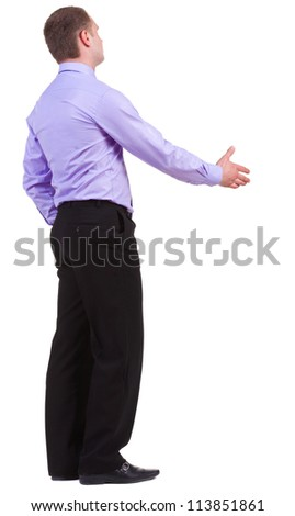back view of business man in shirt shake hands. Rear view people collection. backside view of person. Isolated over white background. - stock photo