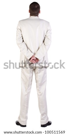 back view of Business man  looks ahead. Young guy in white suit watching. rear view. Isolated over white background. - stock photo