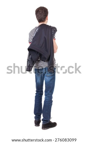 back view of Business man  looks.  Rear view people collection.  backside view of person.  Isolated over white background. The guy put a leather jacket on his shoulder. - stock photo