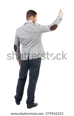 Back view  of business man showing a sign board. young man holds information plate.  backside view of person.  Isolated over white background. A bearded man in a suit holding a poster in his hands.  - stock photo