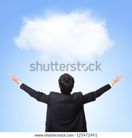 back view of business man showing and hug white cloud with blue sky background, concept for cloud computing or success business or eco issue, asian model - stock photo