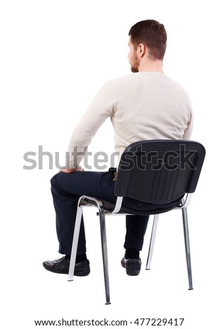 Back View Business Man Sitting On Stock Photo 477229417