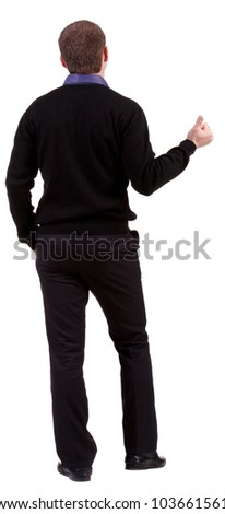 back view of business man thumbs up. rear view. Isolated over white . Rear view people collection. backside view of person. Isolated over white background. - stock photo