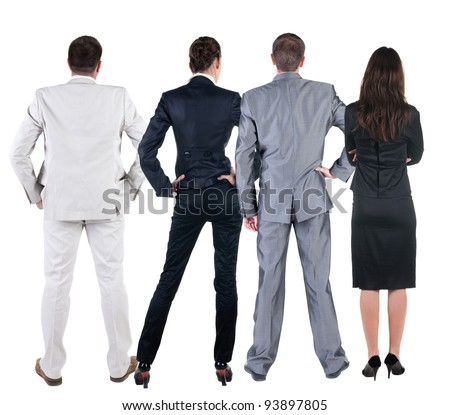 Back view of  business people looks at wall.  Teamwork of three business people looking at something. Rear view. Isolated over white . - stock photo
