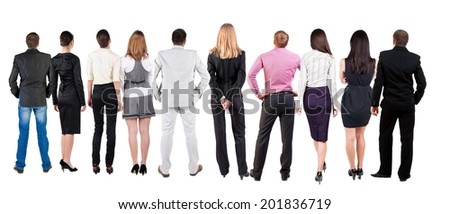 Back view of  business team looks at wall.  Teamwork business people looking at something. Rear view people collection.  backside view of person.  Isolated over white background. - stock photo