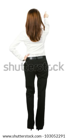 Back view of business woman showing blank area for sign or copyspase, isolated over white background - stock photo