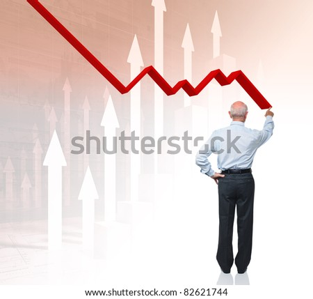 back view of businessman and 3d chart