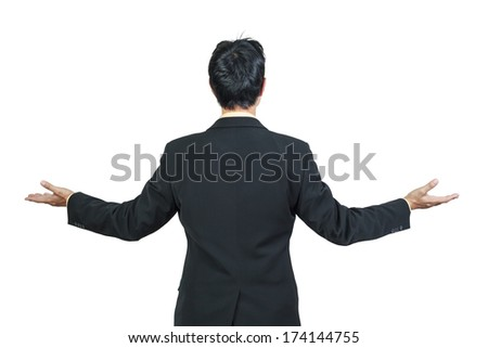 back view of businessman behind and presenting  on white background - stock photo