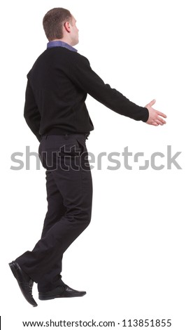 back view of businessman in  movement reaches out to shake hands. Rear view people collection. backside view of person. Isolated over white background. - stock photo