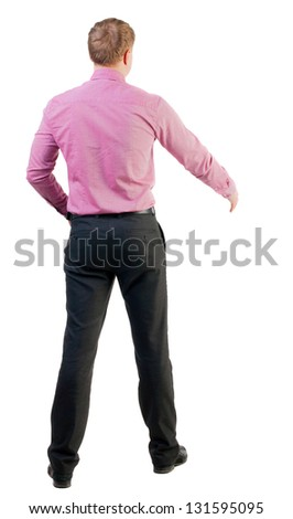 back view of businessman in red shirt out to shake hands. Rear view people collection. backside view of person. manager extends his hand in greeting. Isolated over white background. - stock photo