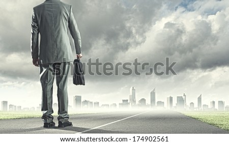 Back view of businessman with suitcase walking on road - stock photo