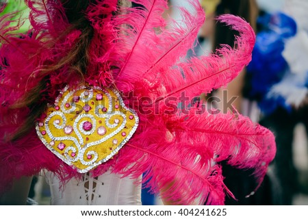 Back view of carnaval parade participants with colorful feathers. closeup photo