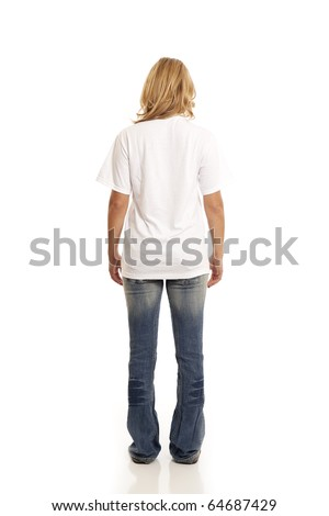 Back view of casual young woman - stock photo