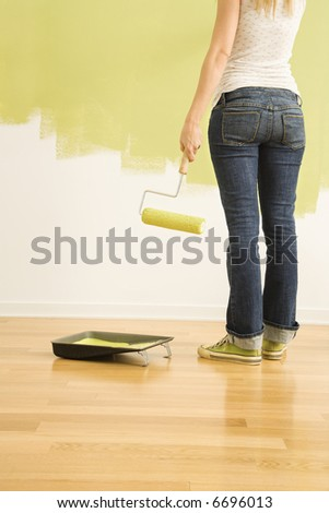 Back view of Caucasian woman holding paint roller with half painted wall.