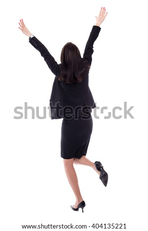 back view of cheerful young woman in business suit isolated on white background - stock photo