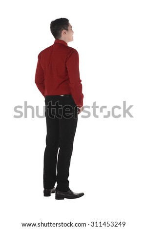 Back view of confident asian business man isolated over white background - stock photo