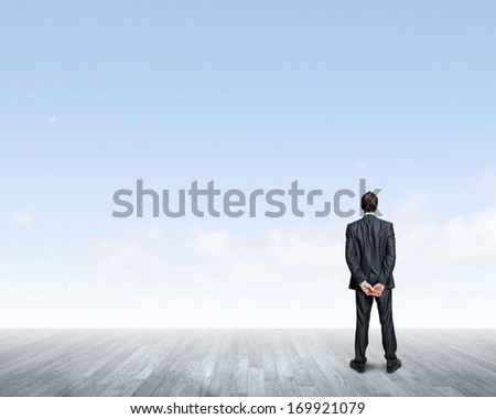 Back view of confident businessman looking into the distance - stock photo