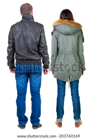 Back view of couple  in jacket. Rear view team people collection.  backside view of person.  Isolated over white background. - stock photo