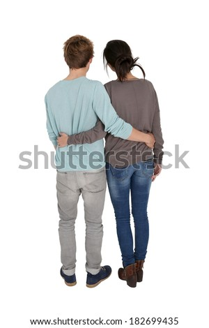 Back view of couple looking away , isolated