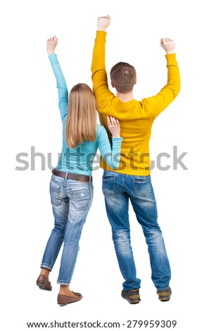 Back view of dancing young couple. Dance party. backside view of person.  Rear view people collection. Isolated over white background. A pair of fans raised their hands up with joy. - stock photo
