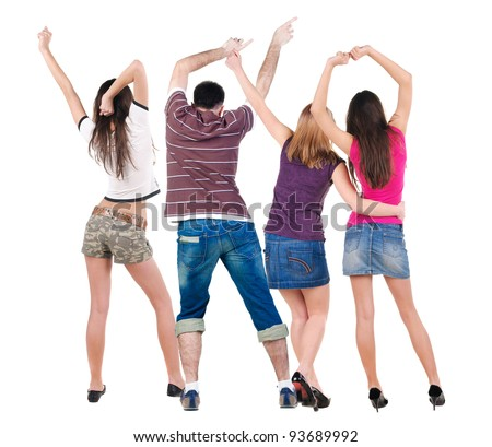 Back view of dancing young people (men and women). Dance party. girls and guys teens dance, enjoy and express positive emotions and having fun.  Rear view. Isolated over white.