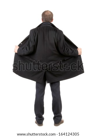 Back view of disclosed coat on man. Isolated on a white background.