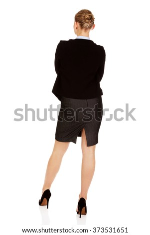 Back view of elegant businsess woman - stock photo
